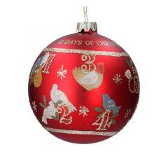 Matt Red 12 Days of Christmas Glass Bauble