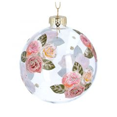 Clear Glass Bauble with Glitter Roses