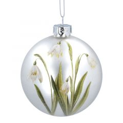 Matt White Glass Bauble with Painted Snowdrops