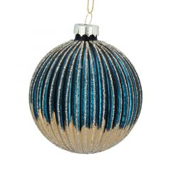 Blue and Gold Ribbed Glass Ball