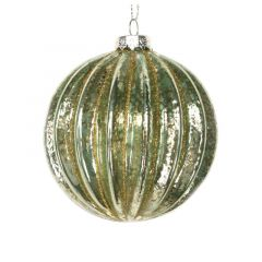 Clear Green Glass Ball with Gold Ribs