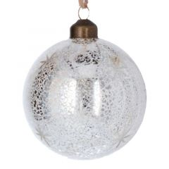 Antiqued Clear Gold Glass Ball with Stars