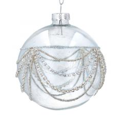 Clear Glass Ball with Silver Diamante Swags