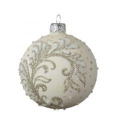 Beaded Branch Ball Wool White - Kaemingk