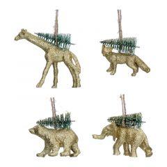 Gold Acrylic Animals with Christmas Tree Decoration