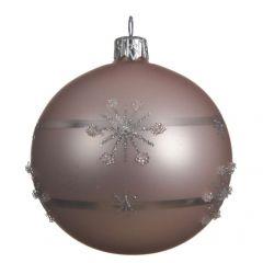 Blush Pink Glass Ball W Line Snowflake  - Kaemingk