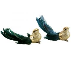 Bird Clip with Feathers - Gold Glitter Green/Blue