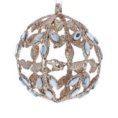 Glitter Acrylic Ball with Diamante - Gold/Blue