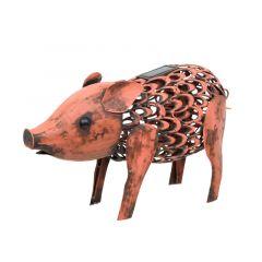 Solar Powered Metal Silhouette Pig
