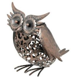 Solar Powered Metal Silhouette Owl