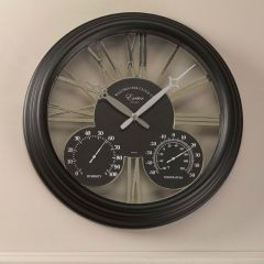 "Exeter Wall Clock & Thermometer 15"" -  Black"
