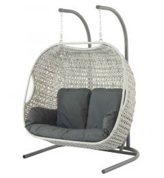 Bramblecrest Monterey Double Hanging Cocoon with Charcoal Cushions