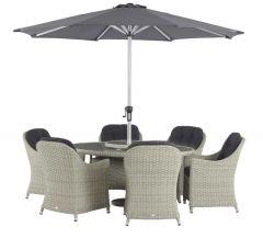 Chatsworth 6 Seat Set With 175cm Elliptical Table & Parasol