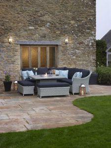 Chatsworth Modular Sofa Set W Large Rectangle Ceramic Firepit Table & 2 Benches