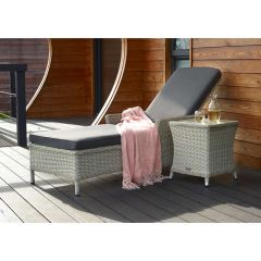 Monterey Lounger & High Coffee Table W Ceramic Top - Dove Grey