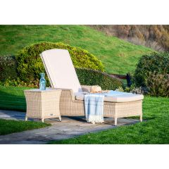 Bramblecrest Monterey Lounger & High Coffee Table With Ceramic Top Sandstone