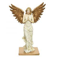 Angel Poly White/Gold 11cm Standing - Kaemingk