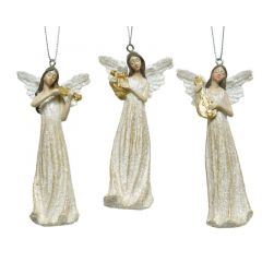 Angel Poly Cream Dec 10cm - Kaemingk