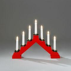 Konstsmide 7 Light Wooden Candlestick - Red