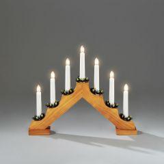Konstsmide 7 Light Wooden Candlestick - Oak