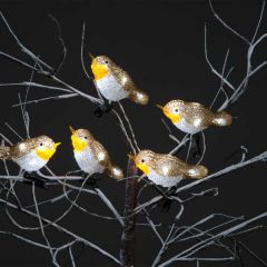 Snowtime Acrylic Robin With 30 Ice White LEDs 5 Pack