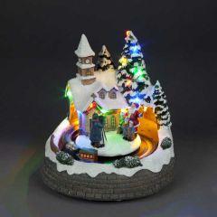 Snowtime LED Church With Santa 22cm