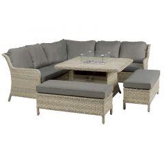 Blenheim Modular Sofa Set W Square Firepit Table & 2 Benches
