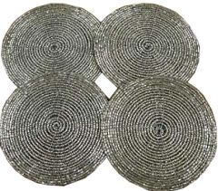Bliss Beaded Silver Coasters - Pack of 4