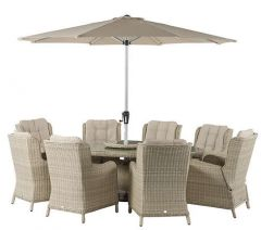 Chedworth 8 Seater Set With 250cm Elliptical Table & Parasol - Bramblecrest