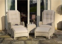 Chedworth Deluxe Recliner Set With Footstools & Ceramic Top Coffee Table - Bramblecrest