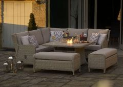 Chedworth Modular Sofa Set With Square Ceramic Firepit Table & 2 Benches
