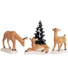 Lemax Dad And Fawns Set Of 4