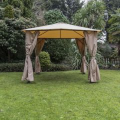 Eden 3x3m Gazebo with Curtains Taupe
