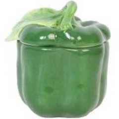 Gisella Graham Green Ceramic Pepper Pot with Lid
