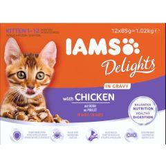 Iams Kitten Pouch Chicken in Gravy 12 Pack
