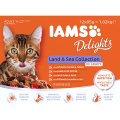 Iams Cat Pouch Land & Sea Collection in Gravy 12 Pack