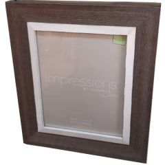 "Impressions Brown Wooden Frame Grey Border 8X10"" - Widdop Bingham"