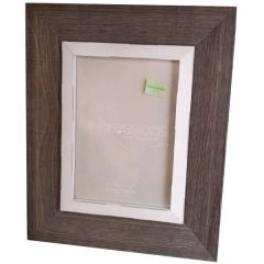 "Impressions Brown Wooden Frame Grey Border 5X7"" - Widdop Bingham"