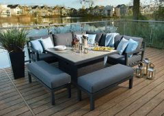 Bramblecrest La Rochelle Square Modular Sofa With Firepit Dining Table & 2 Benches