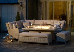 Chedworth Modular Sofa Set With Large Rectangular Firepit Table & 2 Benches - Bramblecrest