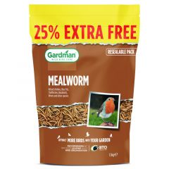 Gardman Mealworm Pouch 1.2kg + 25% Extra Free