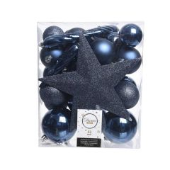 Kaemingk Shatterproof Mix Box Baubles With Tree Topper - Night Blue