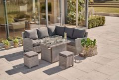 Kettler Palma Mini Corner Seating with Firepit Table (Whitewash with Grey Taupe Cushions)