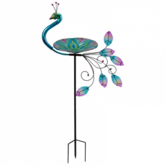 Peacock Glass Birdbath Stake