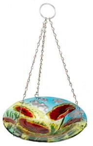 Poppy Hanging Glass Bird Bath Or Feeder - Chapel Wood