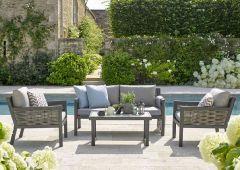 Bramblecrest Portofino Wicker 2 Seat Sofa & 2 Sofa Chairs & Coffee Tables With Cushions