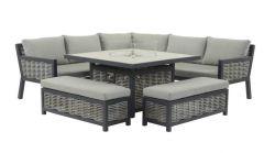 Bramblecrest Portofino Modular Sofa with Square Firepit Table & 2 Benches