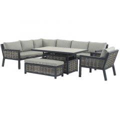 Bramblecrest Portofino Wicker Rectangle Modular Sofa With Adjustable Ceramic Top Table, Bench & Chair