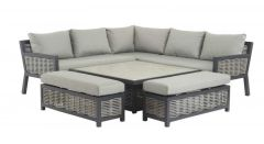 Bramblecrest Portofino Square Modular Sofa with Dual Height Ceramic Top Table & 2 Benches