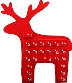 Red Wooden Reindeer Advent Calendar - 40X34CM